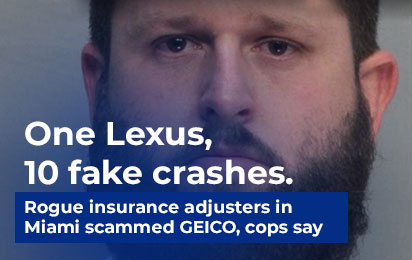 One Lexus, 10 fake crashes. Rogue insurance adjusters in Miami scammed GEICO, cops say